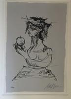 """Nelson Dominguez #3418. """"Mujer con manzanas,"""" 2002. Screen print edition 13/130.  12 x 9 inches."""