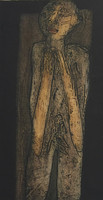 "Choco (Eduardo Roca Salazar) #3451. ""El viejo,"" 2003. Collagraph print edition 4 of 7. 24 x 13 inches."