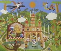 """Luis Rodriguez (El Estudiante)  #3489. """"Orocesion de la virgen de la caridad,"""" 1999. Print edition 1 of 10. 23 x 27.5 inches."""