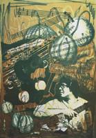 """Diana Balboa #3511. """"Que maneras mas curiosas,"""" 2000. Screen print edition 16 of 33. 27 x 18 inches."""