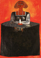 "Montebravo (José Garcia Montebravo) #4957. ""Infanta con Vestido Negro,"" N.D. Oil on canvas. SOLD!"