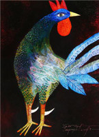 "Montebravo (José Garcia Montebravo) #4959. ""Gallo azul,"" 2009. Oil on canvas. 32 x 24 inches. SOLD!"