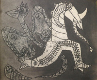 "Jose Mederos Sigler (Mederox) #743. ""Dragon Y Mariposas,"" 1985. Acrylic and charcoal on paper, 17.5"" x 21.5."""