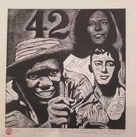 "Raul Martinez #5483. ""Como esta usted?"" 1977. Linocut print edition 10/12.  15 x 14 inches."