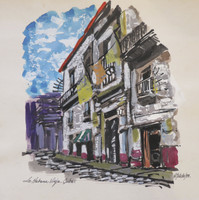 """E. Toledo #5661. """"La habana vieja,"""" 1999. Water color on paper. 10.5 x 11 inches."""