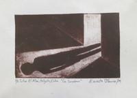 """Ernesto Blanco #6070. """"La sombra,"""" 2014. Block print, artist proof. 7 x 10 inches. SOLD!"""
