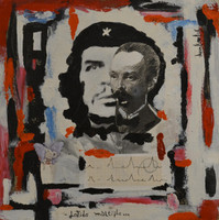 "Juan Karlos Echeverria Franco #5785. ""latido mulile,""2013. Mixed media on wood. 12 x 12 inches."