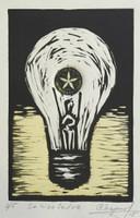 """Chapur #6172. """"Se hizo la luz,"""" 2015. Collagraph print edition 2 of 5. 9.75 x 7 inches."""