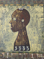 "Alejandro Lazo  (Alazo) #2293. ""3333,"" 2000. Oil on canvas. 19.5 x 17.25 inches. SOLD!"