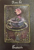 "Brito (Jacqueline Brito Jorge)  #6772. ""Rosa te/Tradicion,"" From the series: ""Ikebana,"" 2007. Mixed media/oil on canvas. 9.25 x 6.5 inches."