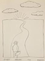 """Tonel (Antonio Eligio Tonel) #6782. """"Follow the money,"""" 2008.Ink on paper. 24 x 19 inches."""