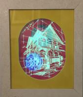 "William Perez #6755 (SL) ""Siempre hoy un lugar,"" 2015. Mixed media/Plexiglass, wood and LED. 23.5 x 19.5 inches."