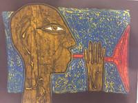 "Choco (Eduardo Roca Salazar) #6781. ""La trompeta China,"" 2017. Collagraph print, artist proof. 24 x 32 inches."