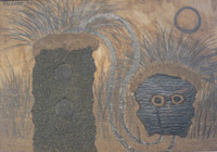 "Mederox Untitled, 1996. Mixed media on aspalt tile. 15.5"" x 21.5."
