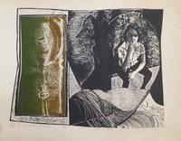 """Carballo (Oscar Carballo)  #491 (SL) """"Mi hermana Vicia,"""" 1979. Linoleum print edition 12 of 12. 21.5 x 25 inches."""
