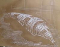 """Humberto Planas 3744A (SL) """"Proyecto encontrado,Un capullo entrado X1."""" 2004. Mixed media on paper. 20 x 25 inches"""