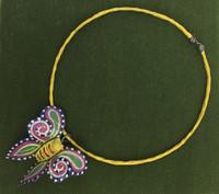 Papier-mâché Yellow Butterfly Choker #15