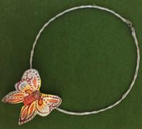 Papier-mâché Grey Butterfly Choker #16