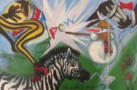 "Rafael Alberto Ferrer NO# ""Jockey femeninas asociades,"" N.D. Oil on paper. 13.75 x 19.75 inches"