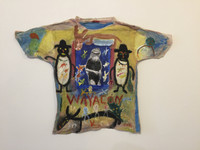 "Wayacón (Julián Espinosa) #6314BX. ""Wayacon,"" N.D. Mixed media/acrylic on tee shirt. 28 x 36 inches."
