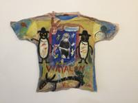 """Wayacón (Julián Espinosa) #6314BX. """"Wayacon,"""" N.D. Mixed media/acrylic on tee shirt. 28 x 36 inches."""