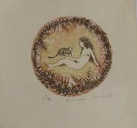 """Zaida Del Rio #6352 (SL). """"Primavera,"""" 1985. Lithograph print edition 7 of 12.  8 x 9 inches."""