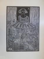 """Montebravo (José Garcia Montebravo) #8083. Untitled, 2009. Linoleum print on white paper II/x.   28"""" x 20 inches."""