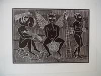 """Montebravo (José Garcia Montebravo) #8078. """"Escena fantastica"""", 2006. Linocut print  on blue paper, P/T. 15 x 20 inches."""
