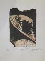 "Guillermo Estrada Viera #8056. ""Maria,"" N.D. Mix media Linoleum print, 2 of 20. 11 x 8.5 Inches."