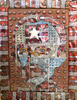 "Joel Jover  #8006. Jose Marti,"" 2008. Mixed media: Bucanero beer cans, wood. 32 x 24 inches."