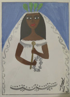 Cenia Gutierrez Alfonso  #6438. Untitled, 2002. Acrylic on card stock. 6.75 x 6 inches. SOLD!