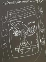 "Nicolas Lara #4255. ""Santero Cubano trabaja en el JFK,"" 2009. Chalk on paper. 12 x 9 Inches."