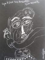 """Nicolas Lara #4256. """"Oya tiene dos amantes y un repuesto,"""" 2007. Chalk on paper. 12 x 9 Inches."""