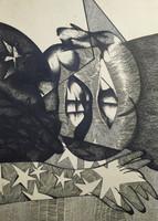 Carballo (Oscar Carballo)  #225. Untitled, 1973. Black ink on white paper. 14 x 20 inches.