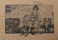 """Carlos Cárdenas #355 (SL) """"La siempre Fidelisima,"""" 1987. Mixed media on brown paper. 9 x 13 inches."""