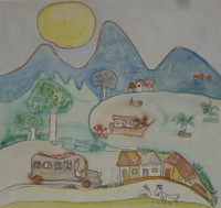 "Fuster (José Rodríguez Fuster) #391. ""Nicaragua,"" N.D. Watercolor on paper. 13.5 x 15.5 inches."