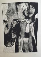 "Carballo (Oscar Carballo)  #489 (SL) NFS>> ""Prosiga usted,"" 1979. Woodcut print edition 1 of 12. Dedicated to sandra."