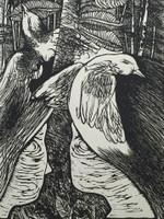 "Carballo (Oscar Carballo)  #513. ""Cuentos de una familia campesina,"" N.D. Woodcut print."