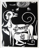Montebravo (José Garcia Montebravo) #2530B.  Untitled, 1992. Linocut print edition 36 of 40. 20 x 15 inches.               .