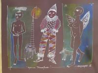 """Montebravo (José Garcia Montebravo) #2631. SL. """"Espacios transitados,"""" 2002. Pen and ink on brown paper 19.5 x 28.5 inches"""
