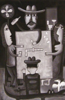 "Fuster (José Rodríguez Fuster) #4904. ""Domino,"" 2008. Oil on canvas. 39 x 27 inches.  SOLD."