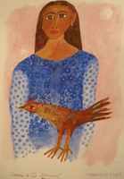 "Montebravo (José Garcia Montebravo)  #5102. ""Version de la Macorina,"" 2007. Watercolor. 12 x 9 inches."