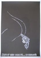 """Noel Morera #5243. """"Mata que Dios perdona,"""" 2009. Linoleum print."""
