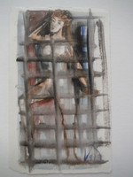 Lester Campa #5949. Untitled, 1997. Double sided watercolor on paper. 6.75 x 4 inches