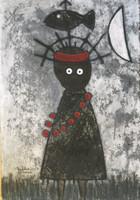 "Mederox (José Mederos Sigler) #6795H. ""Figura en negro,"" 2017. Mixed media: tempera, ink/paper. 19.75""x13.5"""