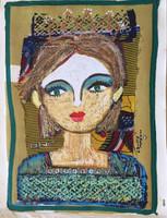 "Sandra Dooley #6798H. ""Reina,"" 2018. MM: oil on canvas, collage. 20.5""x15"""