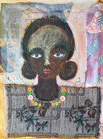 """Sandra Dooley #6799H. """"Juanita,"""" 2017. MM: oil on canvas, collage w buttons 21""""x16"""""""