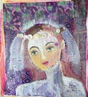 "Sandra Dooley #6800H. ""Novia,"" 2017. MM: oil on canvas, collage. 19""x17"""