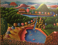 "Magnolia Betancourt #6817H. ""Un día de campismo,"" 2017. Acrylic/canvas. 21.5 x 27.5 Inches"