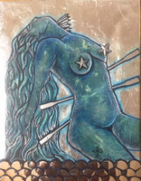 """Brito (Jacqueline Brito Jorge) #6823. From the series """"7 Mares,"""" N.D. Oil on canvas, encaustic. 11""""x8.75"""""""